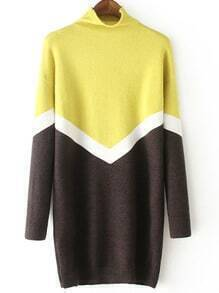 Colour-block Turtle Neck Loose Sweater Dress