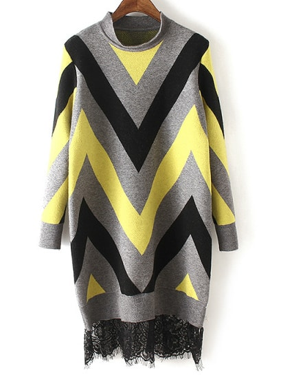 Colour Stand Collar Wave Pattern Lace Sweater Dress