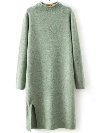Green Mock Neck Straight Sweater Dress