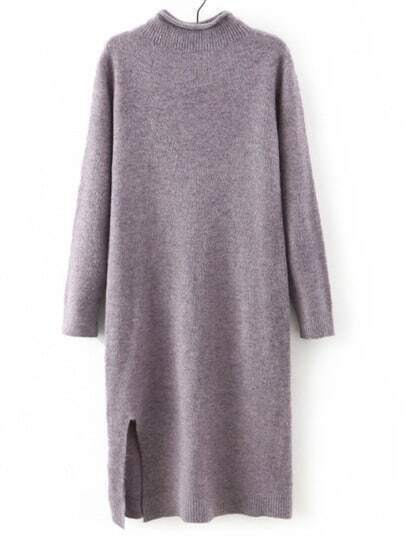Purple Mock Neck Straight Sweater Dress