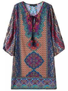Colour Tie-neck Tribal Print Straight Dress