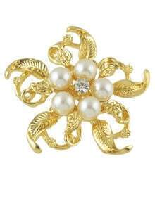 Gold Plated Flower Shape Imitation Pearl Brooch