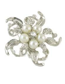 Silver Flower Shape Pearl Brooch