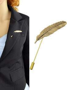 Gold Plated Leaf Shape Long Brooch Pin