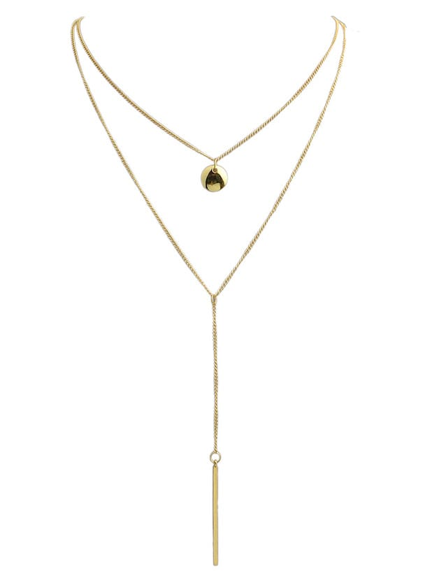 Фото Punk Style Multilayers Long Chain Pendant Gold Plated Necklace. Купить с доставкой