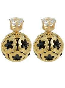 Gold Plated Black Imitation Crystal Stud Ball Earrings