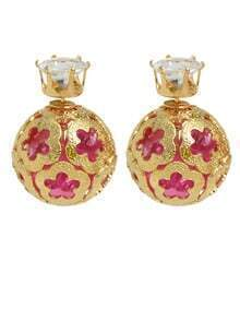 Gold Plated Hotpink Imitation Crystal Stud Ball Earrings