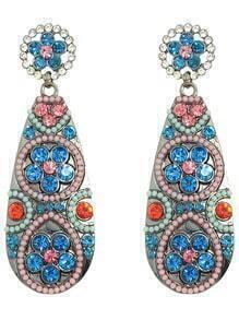 Colorful Rhinestone Long Hanging Stud Earrings
