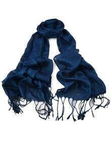 Blue Long Tassel Scarf