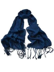 New Fashion Blue Gold Thread Soild Color Long Tassel Scarf