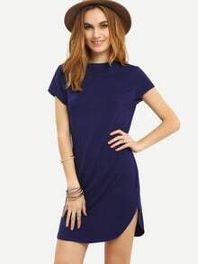Navy Mock Neck Cap Sleeve Dress