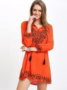 Orange Drawstring Neck Tribal Print Dress