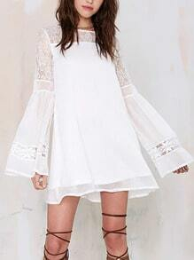 White Bell Sleeve With Lace Dress