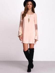 Pink Bell Sleeve Shift Dress