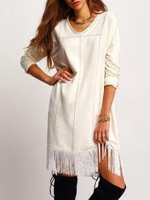 Beige Fringe Hem Shift Dress