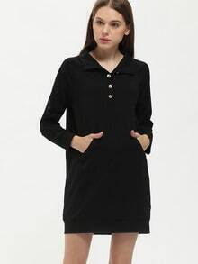 Black Embellishments Pockets Sweatshirt Dress