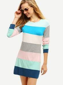 Blue Color Block Shift Dress