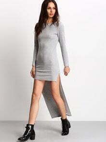 Grey Dip Hem Sheath Dress