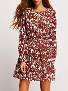 Burgundy Keyhole Front Print A Line Dress