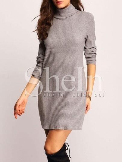 Grey High Neck Ribbed Dress