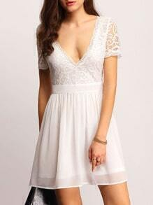 White Deep V Neck Lace A Line Dress