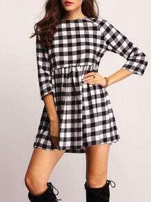 Black Plaid Boat Neck Dress