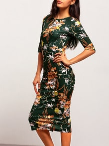 Green Mock Neck Floral Sheath Dress