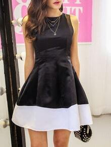 Black Sleeveless Contrast Hem Flare Dress