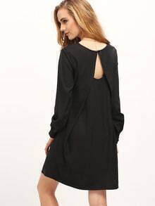 Black Boat Neck Keyhole Back Dress
