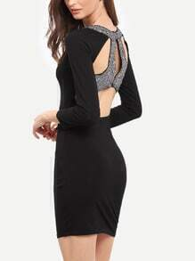 Black Cut Out Back Sequined Bodycon Dress