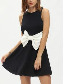 Navy Sleeveless Cut Out Back Flare Dress With Bow
