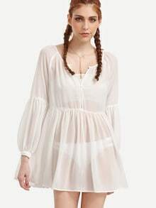 Beige Puff Sleeve Pleated Dress