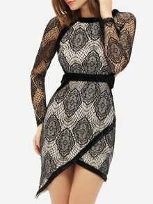 Black Cut Out Lace Asymmetric Dress