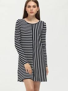 Navy Crew Neck Striped Shift Dress