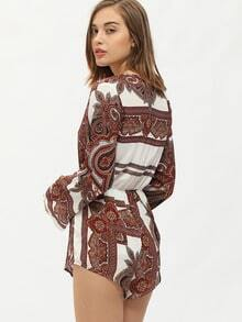 Deep V Neck Tribal Print Playsuit
