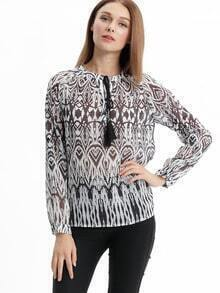Drawstring Neck Folk Print Blouse
