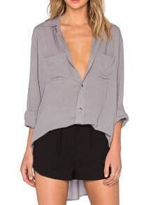 Grey Pockets Boyfriend Blouse