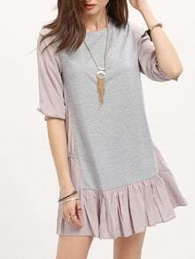 Grey Color Block Flounce Blouse