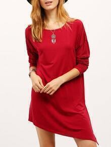 Burgundy Crew Neck Asymmetric Dress