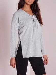 Grey Lace Up Neck Side Slit T-Shirt