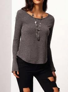 Grey Bell Sleeve Cut Out Back T-Shirt