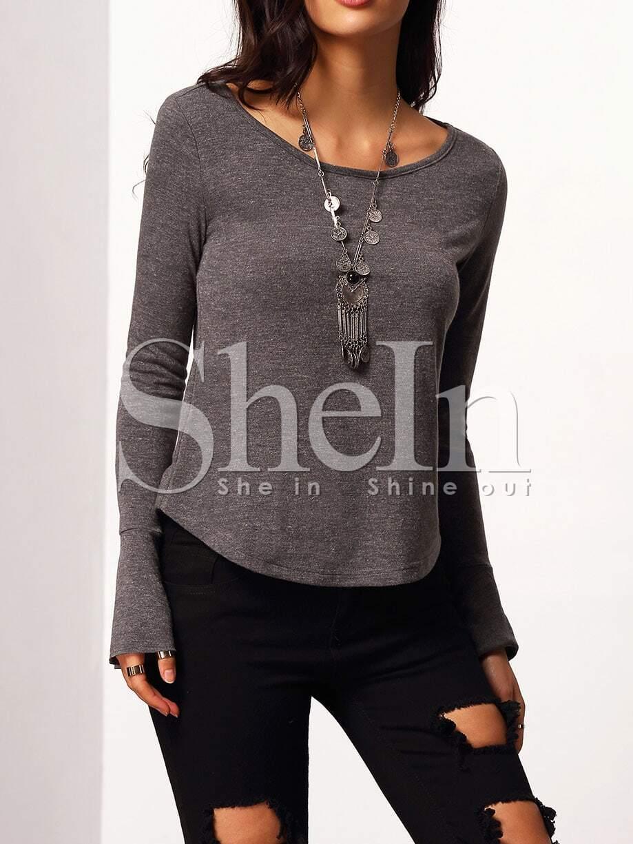 Grey Bell Sleeve Cut Out Back T Shirt Shein Sheinside