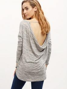 Grey Cowl Back Print T-Shirt