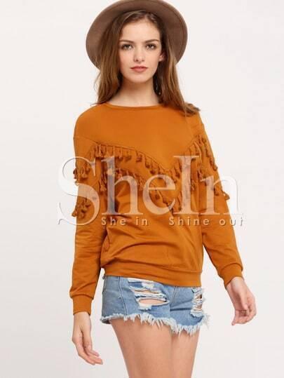 Brown Crew Neck Fringe Sweatshirt