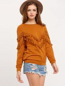 Brown Crew Neck Fringe Sweatshirt