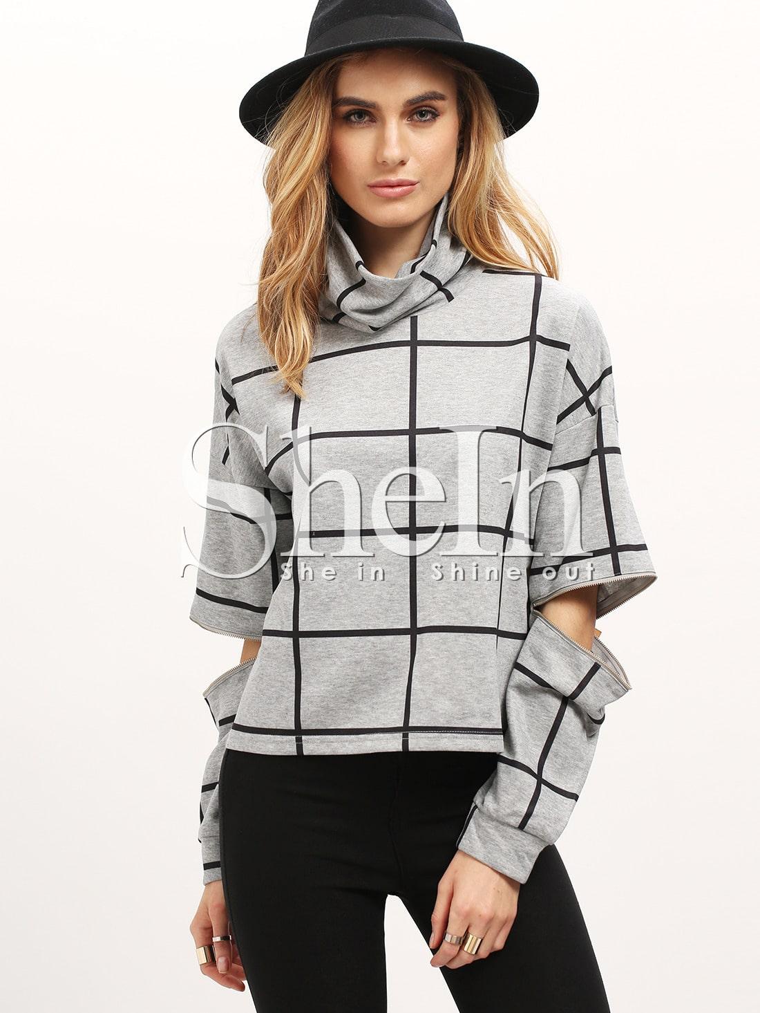 Grey Plaid High Neck Ripped SweatshirtGrey Plaid High Neck Ripped Sweatshirt<br><br>color: Grey<br>size: S