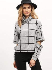 Grey Plaid High Neck Ripped Sweatshirt