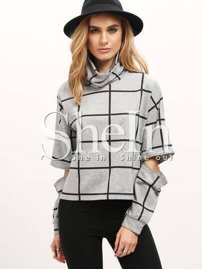 Grey Plaid High Neck Ripped Sweatshirt