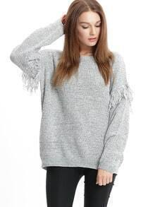 Grey Crew Neck Fringe Sweater