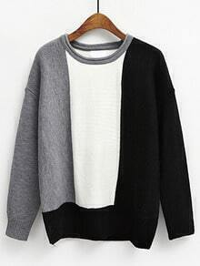 Colour-block Round Neck Loose Sweater